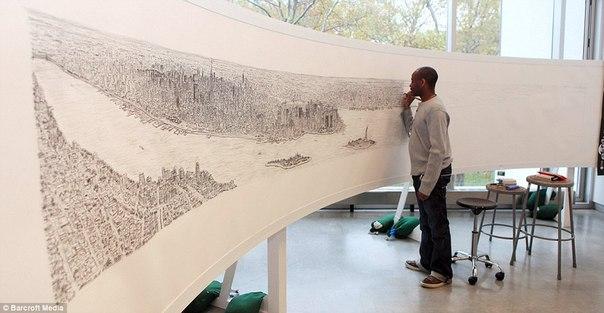 Больной аутизмом художник Стивен Вилтшер рисует Нью-Йорк