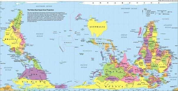 Карта мира в австралии.