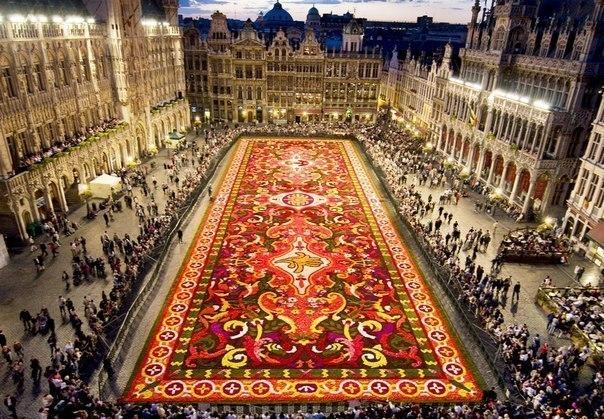 Ковёр из цветов в Брюсселе.
