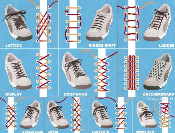 Оригинальная шнуровка на кроссовках.