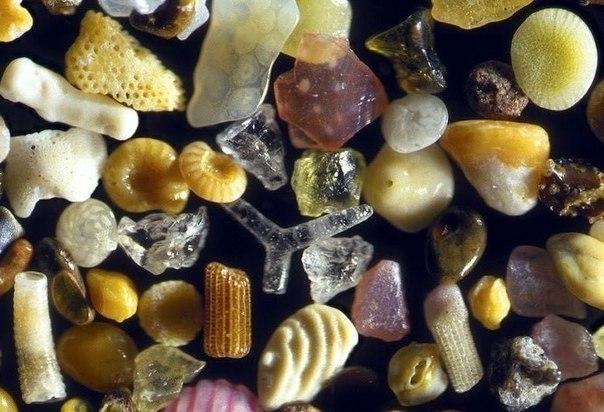Песок под микроскопом с 250- кратным увеличением.
