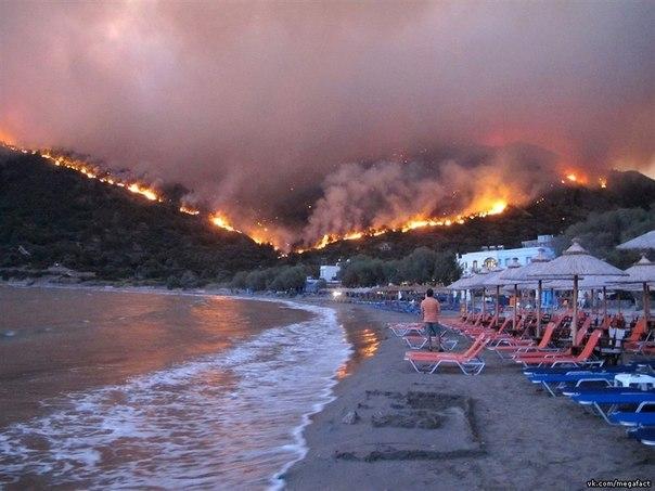 Пожар на острове Chios, Греция.