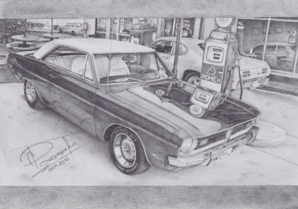 Рисунок карандашом. Dodge Dart Swinger