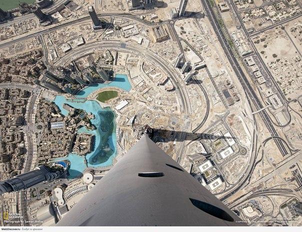 С самой верхней точки самого высокого здания в мире.