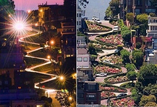 Самая изогнутая дорога в мире находится в Сан-Франциско.