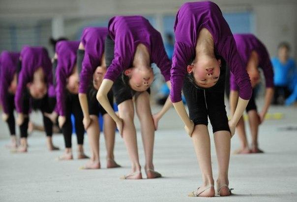 Студентки растягиваются на тренировке в гимнастической ш