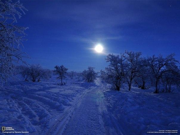 Тундра, снятая днем во время полярной ночи.