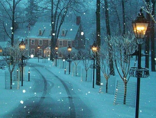 Зима в городке Нью Хоп, Штат Пенсильвания, США